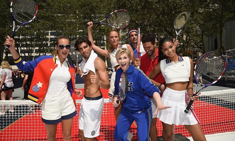 Model Hannah Davis (L) Jane Lynch (C) and Chanel Iman (R)  make the perfect team in New York's Bryant Park, as they celebrate Rafael Nadal's new role as a Tommy Hilfiger brand ambassador. 