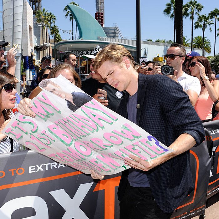 "Canadian actor Hayden Christensen grants a birthday wish during an appearance on ""Extra"" in California. 