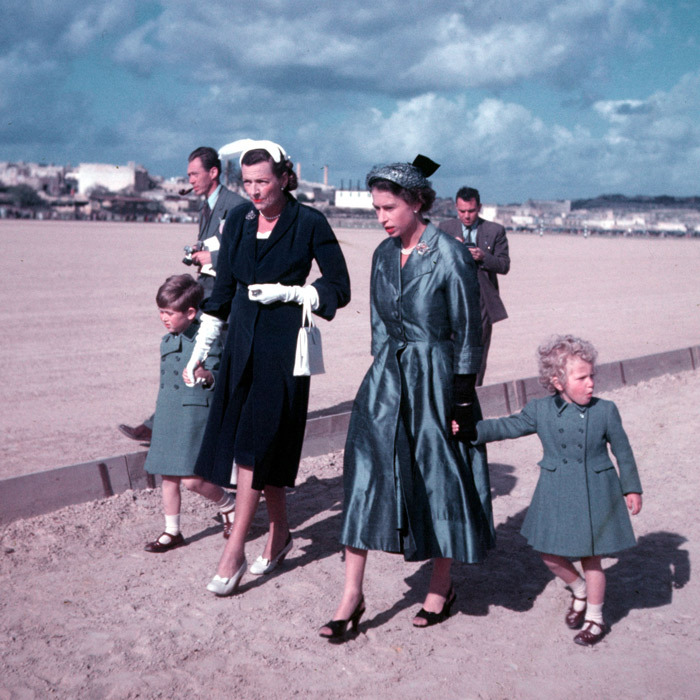 ISLAND LIFE, 1954: As newlyweds, Princess Elizabeth and the Duke of Edinburgh spent many carefree months on the island of Malta where Philip was serving in the Royal Navy. Malta remained close to their hearts and, on a return visit as Queen in 1954, Her Majesty took Prince Charles and Princess Anne (here with Philip's aunt, Lady Mountbatten). 