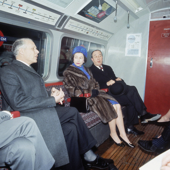 "ALL ABOARD, 1969: Her Majesty formally opened the London Underground's Victoria Line. After a short inauguration ceremony, she bought a ticket and travelled between Green Park and Oxford Circus in ""one of the bright modern coaches.""