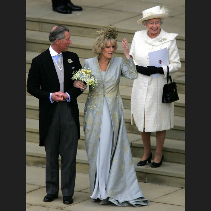 CHARLES AND CAMILLA MARRY, 2005: Prince Charles's second wedding, in April 2005, was a much smaller affair than his first: a civil ceremony in Windsor Guildhall in the presence of the couple's respective children and other close family members. The Queen and Prince Philip attended a blessing led by the Archbishop of Canterbury in St. George's Chapel.