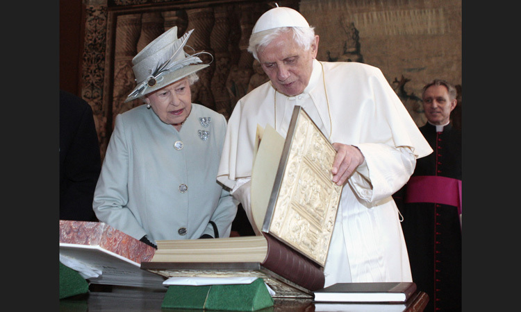 HOLY READING, 2010: Pope Benedict XVI makes his first state visit to the U.K., spending some time with the Queen at Holyrood Palace in Edinburgh.