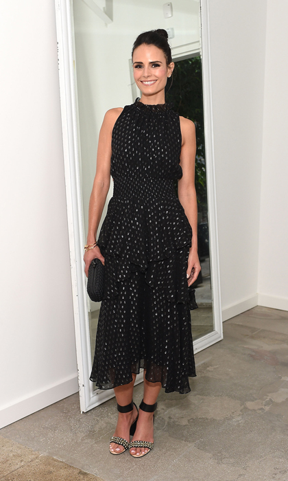 Jordana Brewster elevated basic black at the A List 15th anniversary party in a ruffled Rebecca Taylor dress, coordinating clutch and ankle-strap sandals