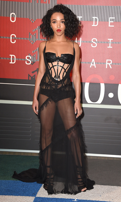 All eyes were on FKA Twigs at the VMAs as the singer stepped out in a daring, skin-baring Versace design.