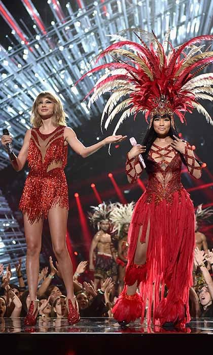 No bad blood here! Music superstars Taylor Swift and Nicki Minaj prove they have moved past their recent Twitter feud by performing together at the MTV Video Music Awards. 