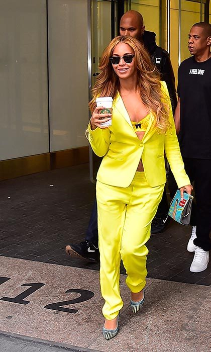 Rocking an on-trend neon-yellow ensemble while running errands in New York.