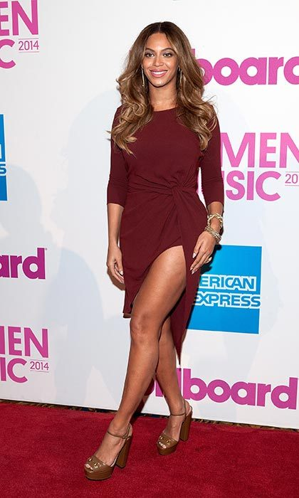 Showing a whole lot of leg at a luncheon ahead of the 2015 Billboard Music Awards.