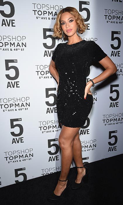 Dazzling in a Topshop dress the opening of the brand's flagship store in New York.