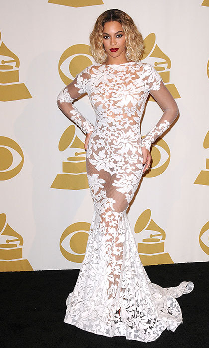 Wearing Michael Costello at the 2014 Grammy awards after a show-stopping performance with hubby Jay Z.