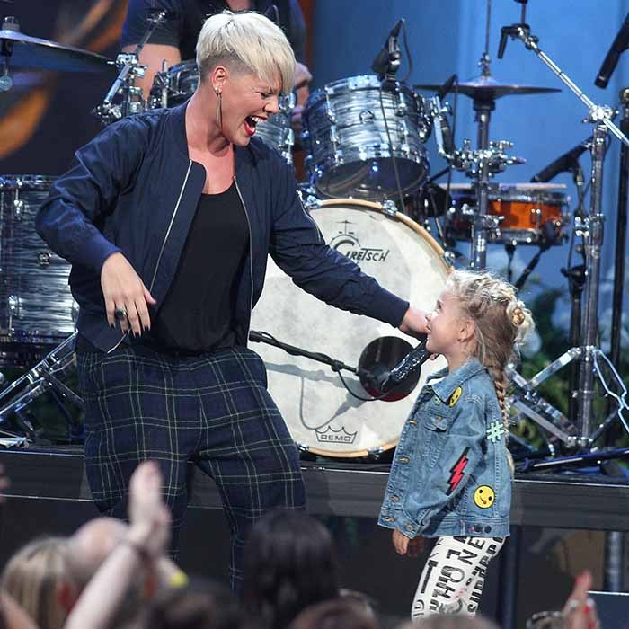 Pink gets a little help from her mini-me, daughter Willow, during a performance on 'The Ellen DeGeneres Show.'