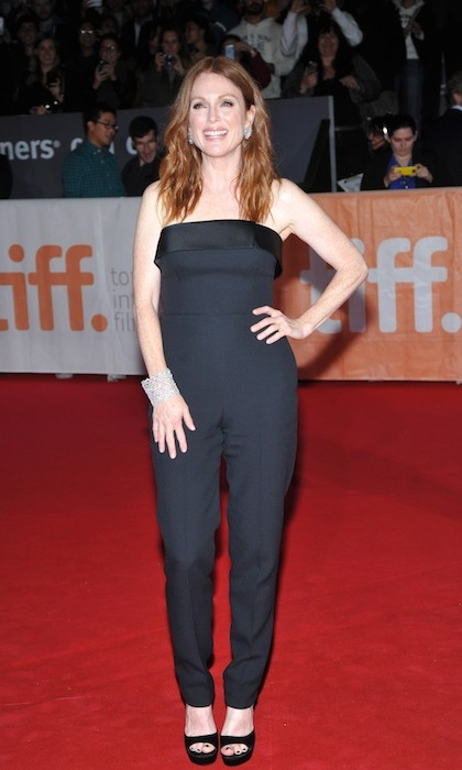 """Freeheld's Julianne Moore turned heads in a sexy black jumpsuit by Hugo Boss. 