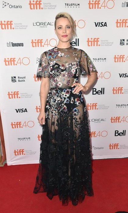 Rachel McAdam's floral and sheer Valentino gown brought the red carpet at 'Spotlight' to a standstill. 