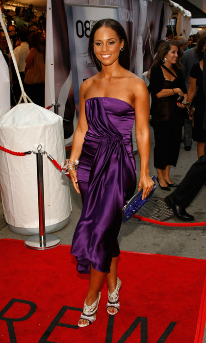 Gorgeous Alicia Keys attended the premiere of 'The Secret Life of Bees' in 2008 rocking these scene stealers with a ruched, purple satin dress.