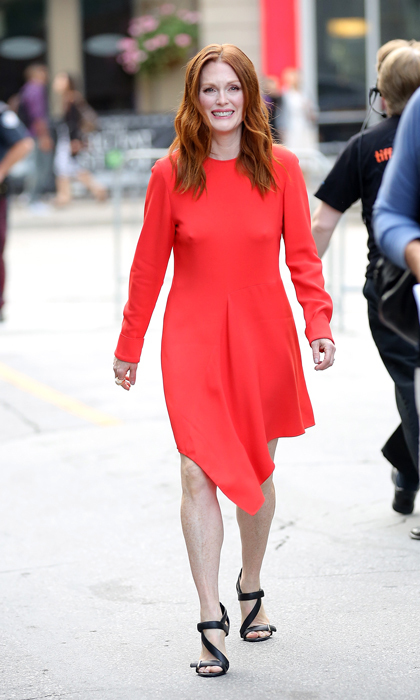 Julianne Moore was positively flawless in 2014 as she promoted 'Still Alice' in a cherry-red, asymmetrical Stella McCartney dress and these bold Nicholas Kirkwood sandals.