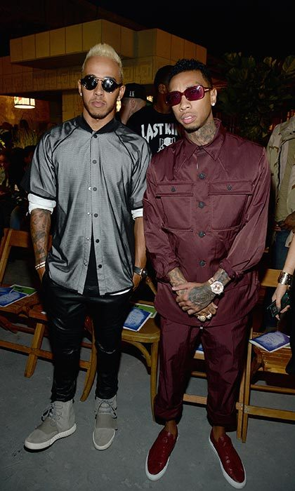 Lewis Hamilton and Tyga at Opening Ceremony.