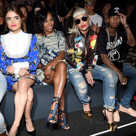 Lucy Hale, June Ambrose, Rita Ora and Tyga at Jeremy Scott.