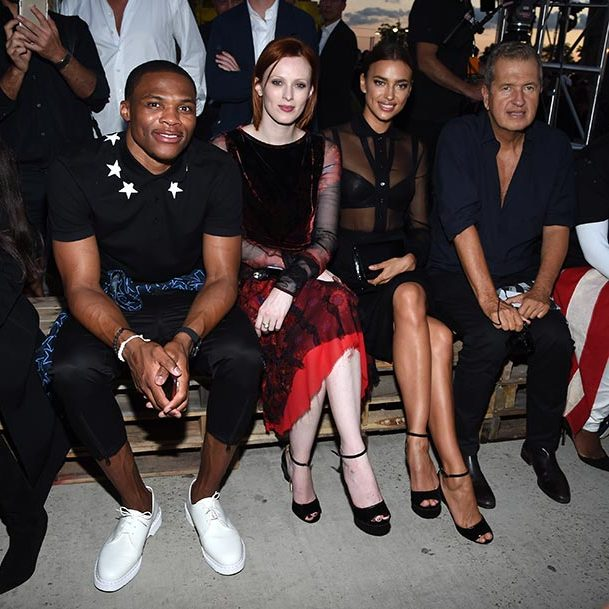 Russell Westbrook, Karen Elsa, Irina Shayk and Mario Testino at Givenchy.
