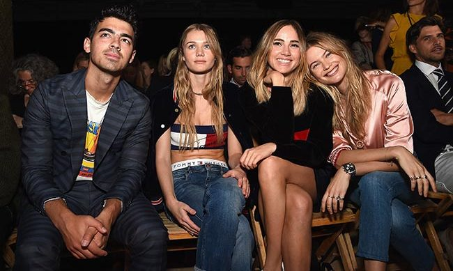 Joe Jonas, Immy Waterhouse, Suki Waterhouse, Behati Prinsloo and Johannes Huebl at Tommy Hilfiger.