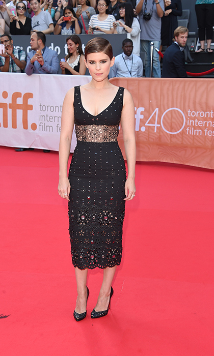 "Kate Mara turned heads in an embellished Marc Jacobs eyelet dress at the premiere of ""Man Down.""