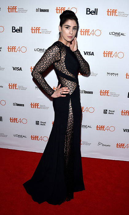 "Sarah Silverman worked the red carpet for ""I Smile Back"" in a sexy black cut-out gown. 