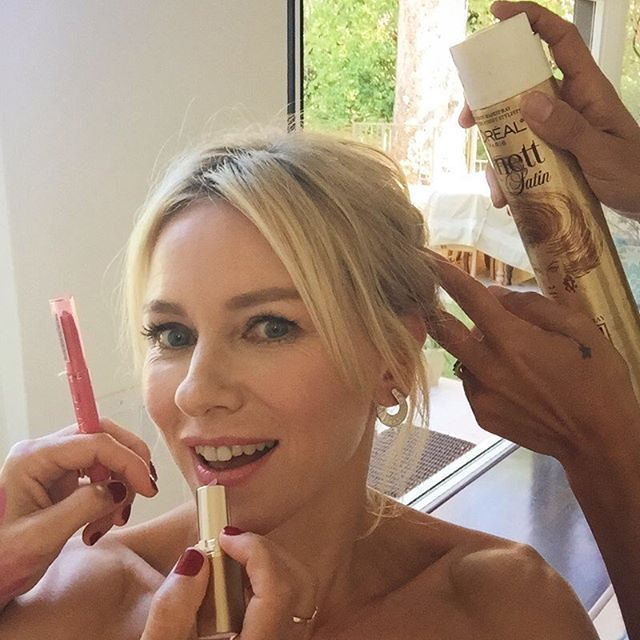 "@naomiwatts ""Getting ready for the Emmys at the hands of the amazing @monikablundermakeup and @cervandohair (with a little help from @lorealparisusa and @bulgariofficial) Good luck to the one and only @RayDonovan tonight! #Emmys2015""