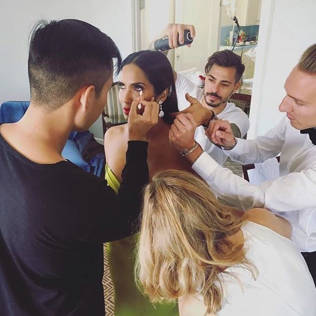 "@padmalakshmi ""It takes a village!! Thank you so much to my glam squad! Makeup: @patrickta Hair: @michaelduenas Styling: @cristinaehrlich Gown: @romonakeveza jewelry by @leightonjewles #Emmys #topchefmemories""