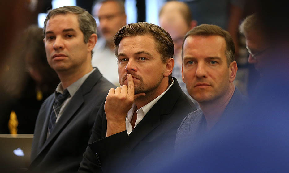 Leonardo DiCaprio joins financial, faith and environmental leaders to discuss clean energy alternatives at a Divest-Invest news conference in New York. 