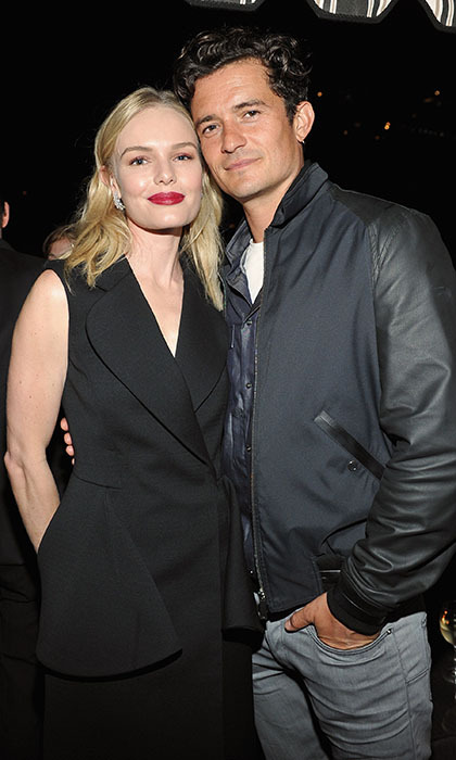 Former loves Kate Bosworth and Orlando Bloom share a friendly reunion at a Dior Homme cocktail party at the Chateau Marmont. 