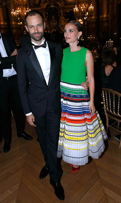 A Christian Dior-clad Natalie Portman joins her husband, Benjamin Millepied, at Paris Ballet's Opening Season Gala. 