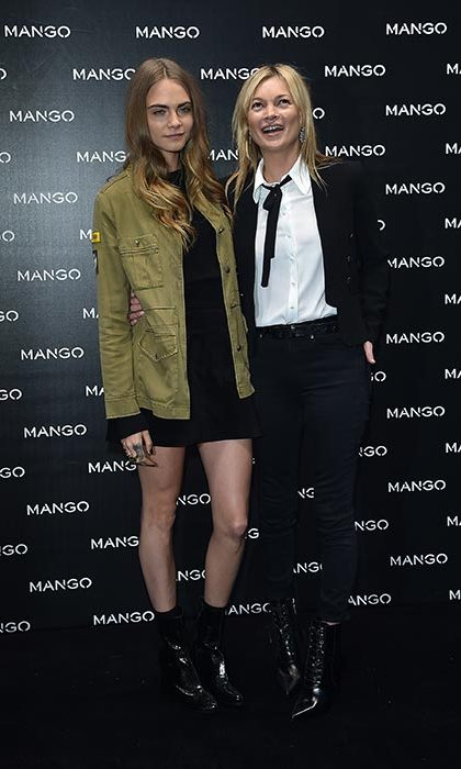 Cara Delevingne and Kate Moss at an event for Mango.