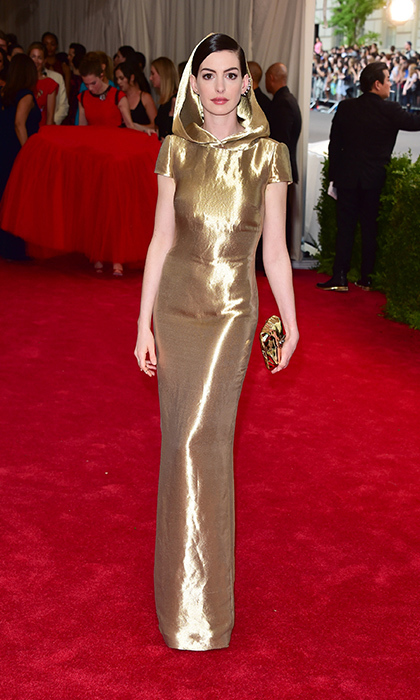 Anne Hathaway channeled Little Red Riding Hood in this golden creation, which was one of the 2015 Met Gala's most talked about red carpet looks. 
