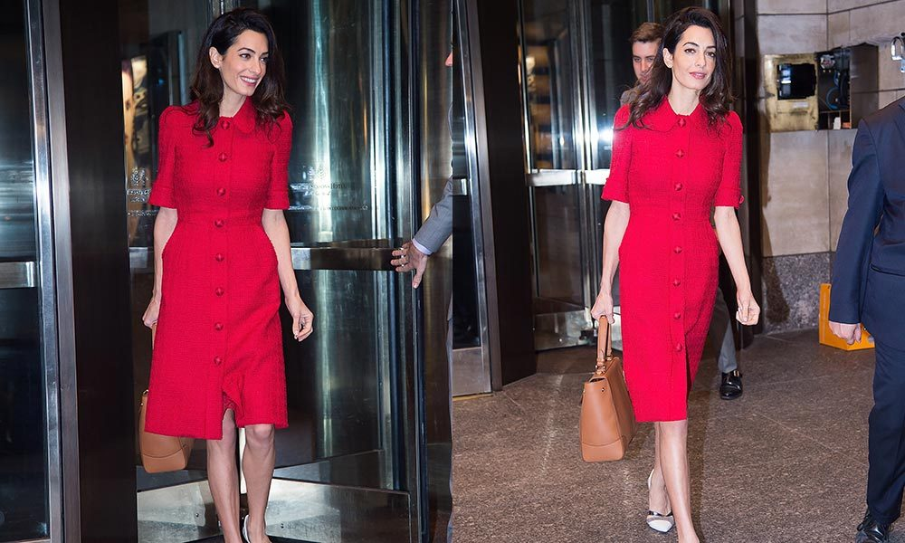 Amal Clooney Buttons Up In Chic Red Dress