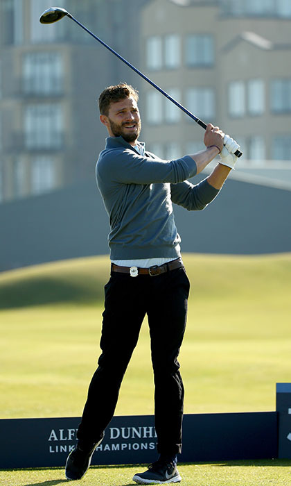 '50 Shades of Grey' star Jamie Dornan gets in some practice time at St. Andrews Golf Club in Scotland before getting paired up with a professional to compete in the 2015 Alfred Dunhill Links Championship.