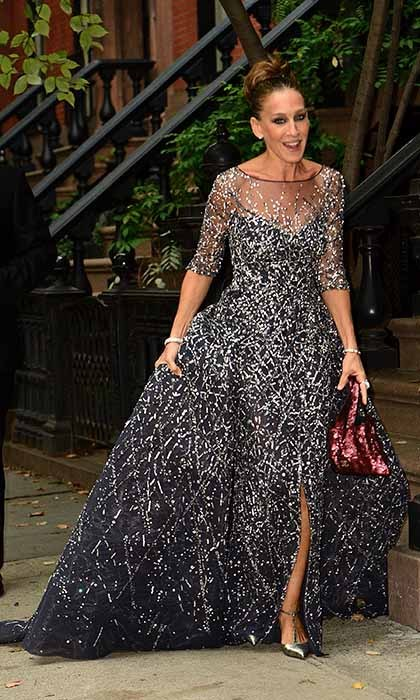 A sparkly Sarah Jessica Parker turns heads as she strolls along a Manhattan sidewalk in Zuhair Murad Couture en route to the NY Ballet Fall Gala.