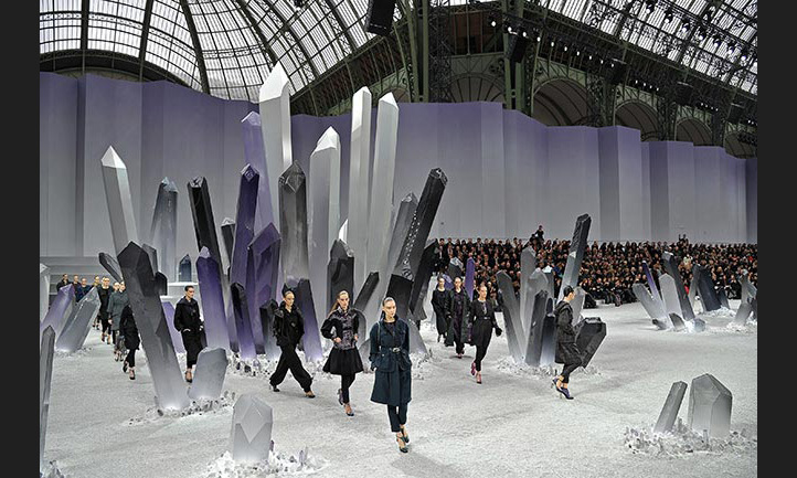 Models made their way through an oversized crystal kingdom for the AW12 show.