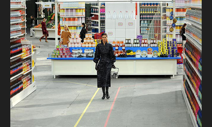 In what was the world's most stylish supermarket sweep, models shopped as they made their way down the aisles stocked with Chanel-themed products for the AW14 show.