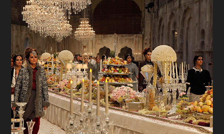 A glamorous and decadent banquet made for an eye-catching setting at the Chanel Paris-Bombay runway show in 2011.
