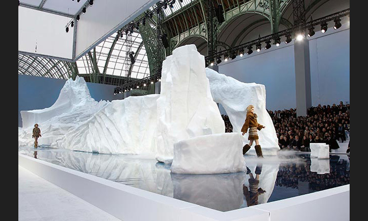 Models emerged from a huge iceberg which took over the Chanel AW11 runway.