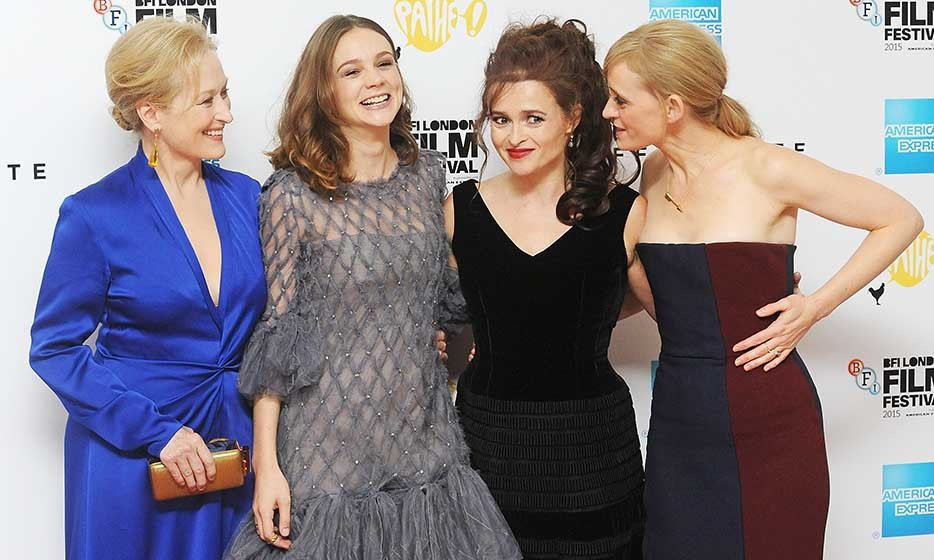The leading ladies of 'Suffragette' (From L: Meryl Streep, Carey Mulligan, Helena Bonham Carter and Anne-Marie Duff) walk the red carpet on the opening night of the BFI London Film Festival.