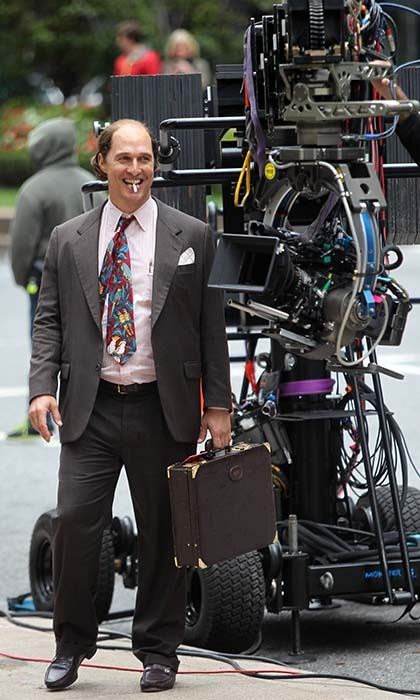 An unrecognizable Matthew McConaughey gets into character on the set of his new film 'Gold' in New York.