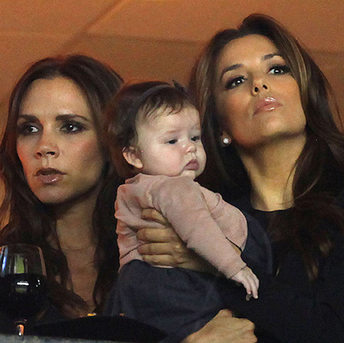 Practicing her pout with Victoria's BFF Eva Longoria.