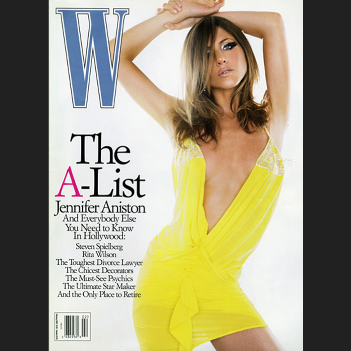 A modern mod Jennifer Aniston was only recognizable on a double take covering W's February 2003 A-list issue.