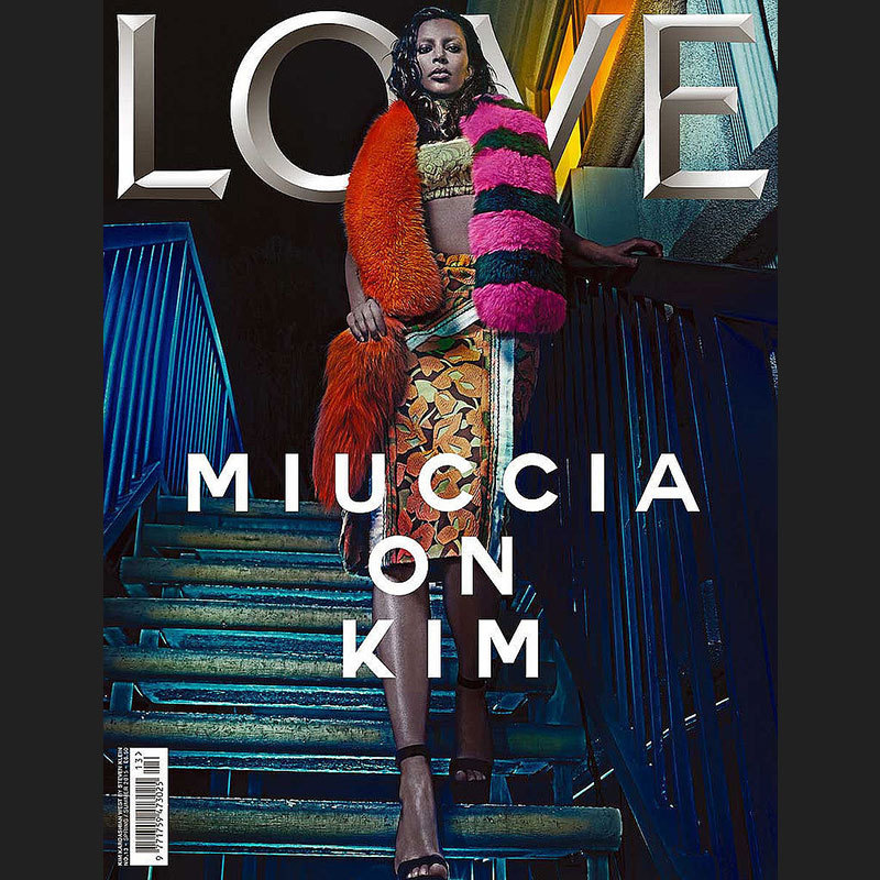 Even with Kim Kardashian sneak peeking her bleached brows, we still had to look closely to see the reality star on LOVE's 13th issue.