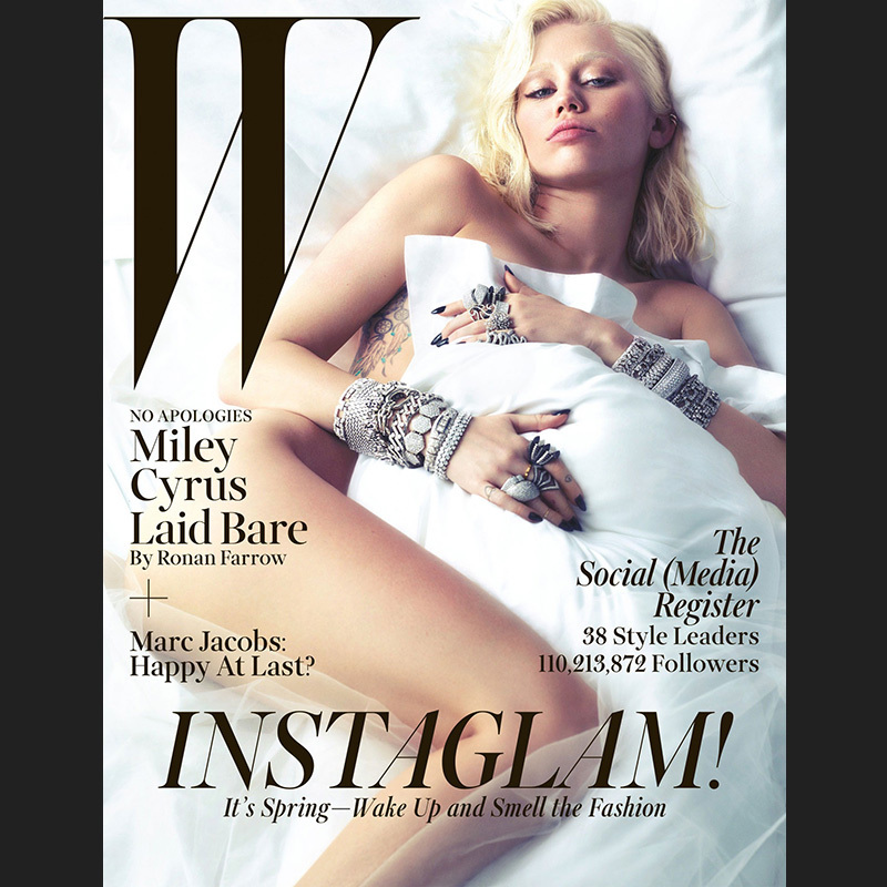 Brows be gone! Miley Cyrus was bleached and baubled for W's March 2014 issue.