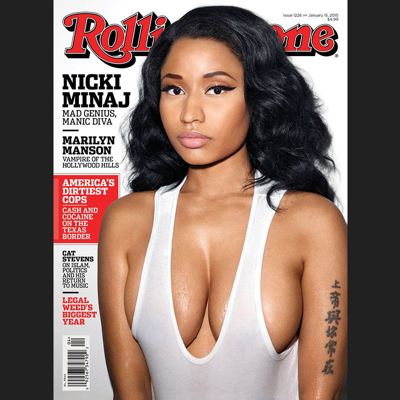 Nicki Minaj traded her candy-coloured hair and over-the-top ensembles for a white tank and simple cat eye on the January 2015 cover of Rolling Stone.