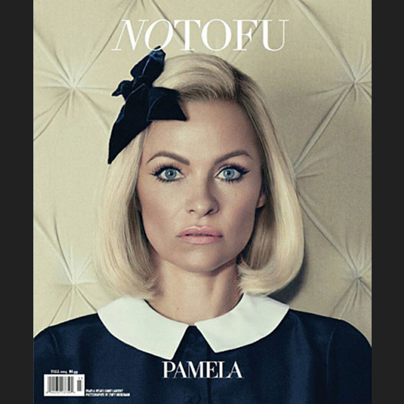 Sex symbol no more! Pamela Anderson was positively doll-like on the cover of No Tofu magazine's autumn issue.