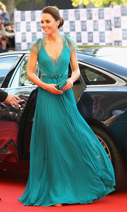 A daring move away from the norm, Kate's teal Jenny Packham gown with embellished waistband was a bold and beautiful choice for the Olympic concert in May 2012.