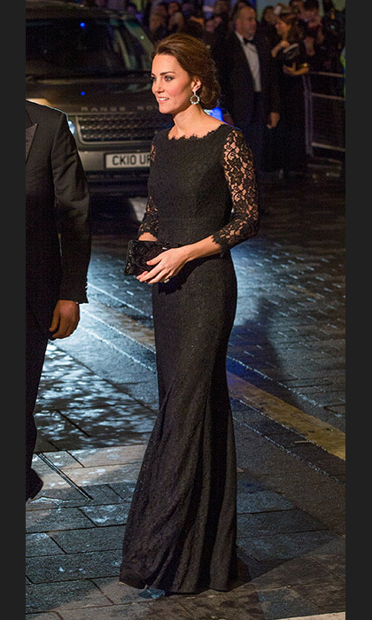 Kate was glowing in this black lace Diane Von Furstenberg gown at the Royal Variety Performance in November, just two months after announcing her second pregnancy. Accessorised with a sparkly black clutch and Lola blue topaz hoop earrings by Kiki McDonough, she looked suitably glamorous for the occasion.