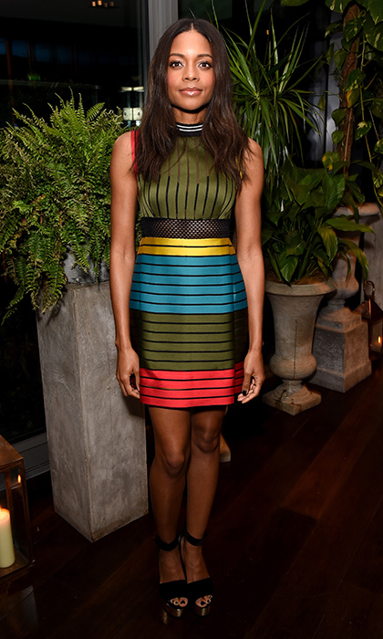 Naomie Harris opted for an attention-grabbing striped frock at Sony Technology's 'Made for Bond' event. 