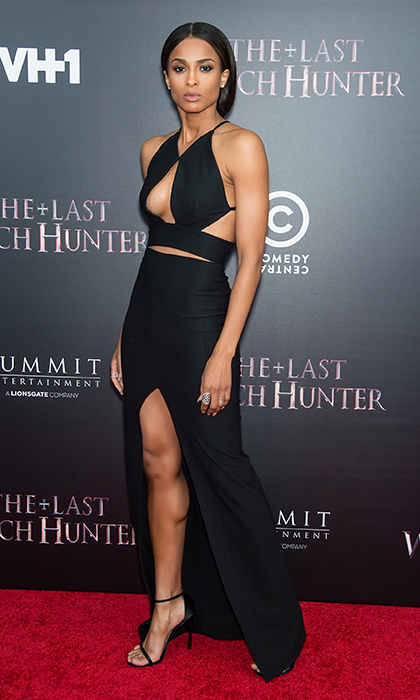 "Ciara looked ever the Queen of Seduction in this striking cutout dress by Solace London to debut 'The Last Witch Hunter,' for which she covers the Rolling Stones' ""Paint It Black""